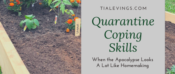 garden with blog title overlayed quarantine coping skills
